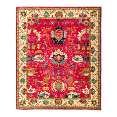 One-of-a-Kind Eclectic Vivid Hand-Knotted Pink Area Rug Rug Size: Rectangle 82 x 910