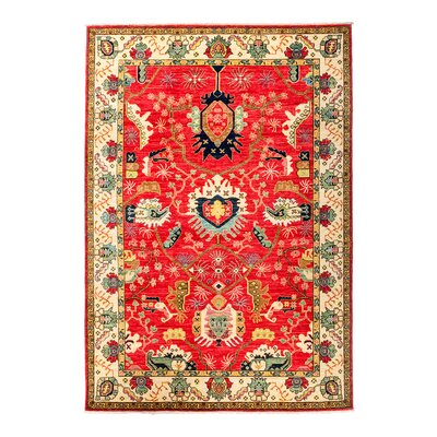 Eclectic Vivid Hand-Knotted Red Area Rug