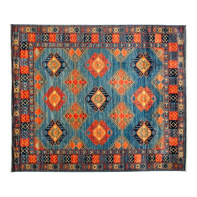 Ersari Hand-Knotted Blue Area Rug