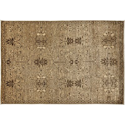 Gabbeh Hand-Knotted Beige Area Rug