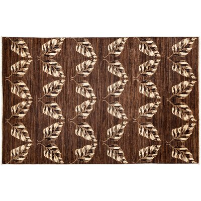 Gabbeh Hand-Knotted Brown Area Rug