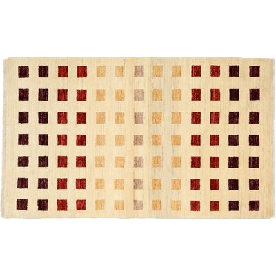 One-of-a-Kind Gabbeh Hand-Knotted Ivory Area Rug