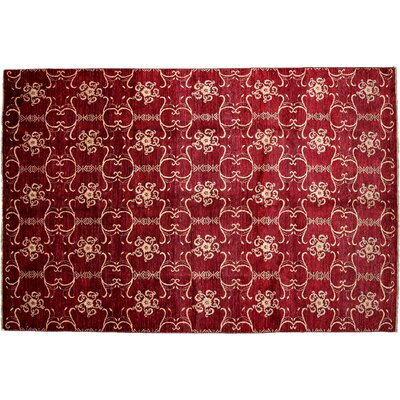 One-of-a-Kind Gabbeh Hand-Knotted Red Area Rug