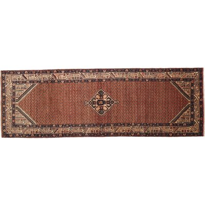 Hamadan Hand-Knotted Brown Area Rug