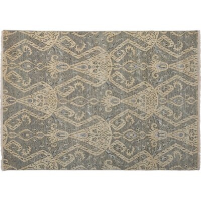 One-of-a-Kind Ikat Hand-Knotted Blue Area Rug