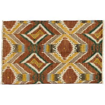 Ikat Hand-Knotted Brown Area Rug