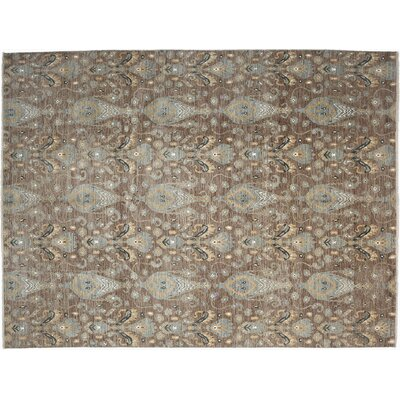 One-of-a-Kind Ikat Hand-Knotted Brown Area Rug