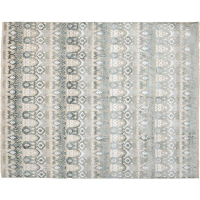 Ikat Hand-Knotted Gray Area Rug