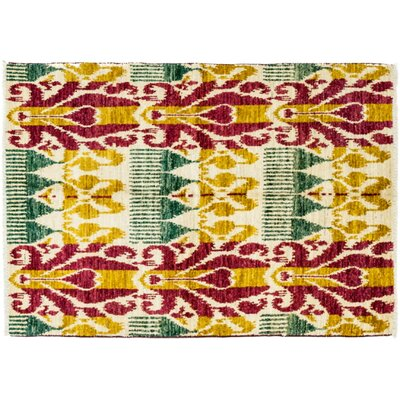 One-of-a-Kind Ikat Hand-Knotted Multicolor Area Rug Rug Size: 41 x 63