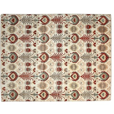 Ikat Hand-Knotted Ivory Area Rug