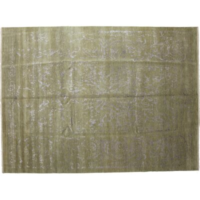 One-of-a-Kind Ikat Hand-Knotted Green Area Rug