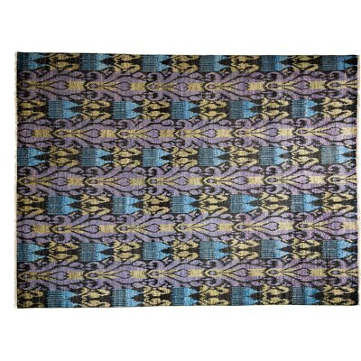 One-of-a-Kind Ikat Hand-Knotted Purple Area Rug