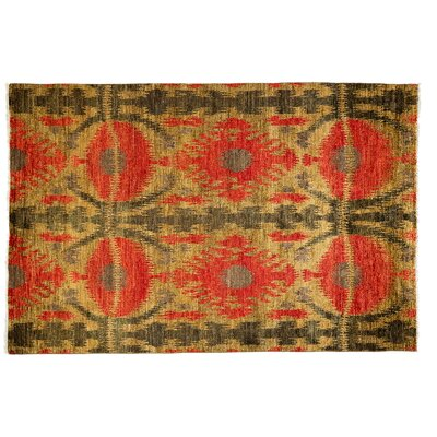 Ikat Hand-Knotted Red Area Rug