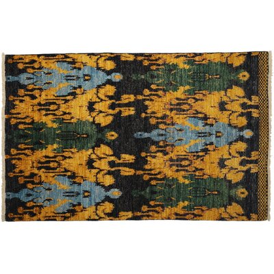 Ikat Hand-Knotted Yellow Area Rug