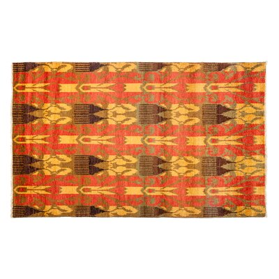 One-of-a-Kind Ikat Hand-Knotted Yellow Area Rug
