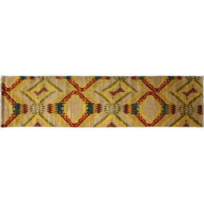 One-of-a-Kind Ikat Hand-Knotted Beige Area Rug