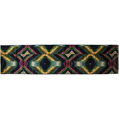Ikat Hand-Knotted Black Area Rug