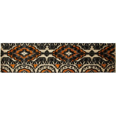 One-of-a-Kind Ikat Hand-Knotted Black Area Rug
