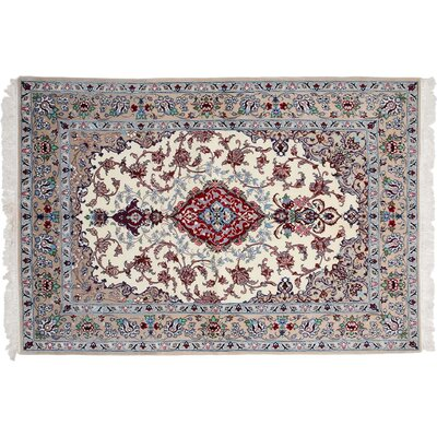 One-of-a-Kind Isfahan Hand-Knotted Ivory Area Rug
