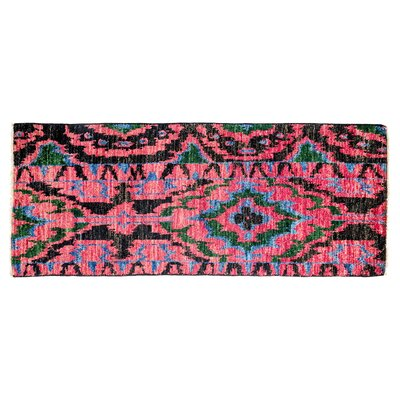 Ikat Hand-Knotted Pink Area Rug