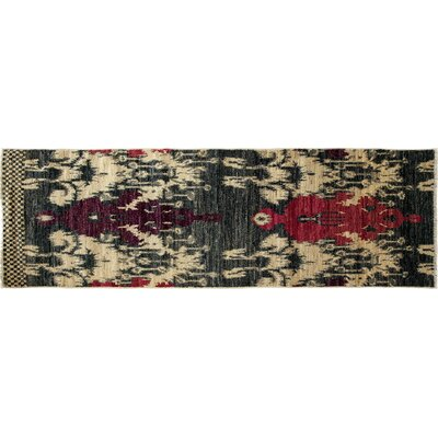 One-of-a-Kind Ikat Hand-Knotted Blue Area Rug Rug Size: Runner 27 x 83