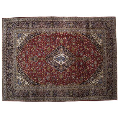 One-of-a-Kind Kashan Hand-Knotted Red Area Rug
