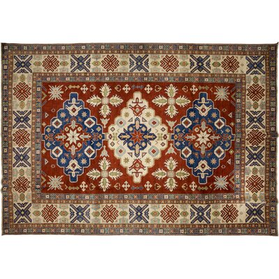 Kazak Hand-Knotted Red Area Rug M1754-107