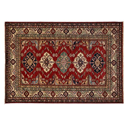 Kazak Hand-Knotted Red Area Rug M1770-299
