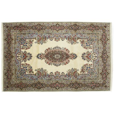 One-of-a-Kind Kerman Hand-Knotted Ivory Area Rug