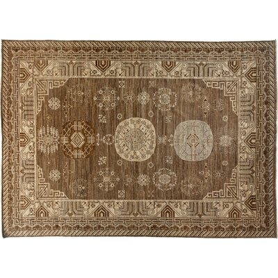 One-of-a-Kind Khotan Hand-Knotted Brown Area Rug