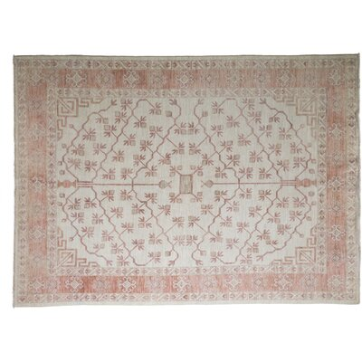 One-of-a-Kind Khotan Hand-Knotted Ivory Area Rug