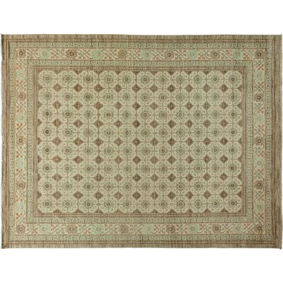 One-of-a-Kind Khotan Hand-Knotted Beige Area Rug