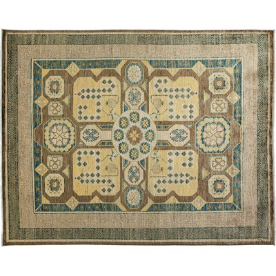 Khotan Hand-Knotted Brown Area Rug