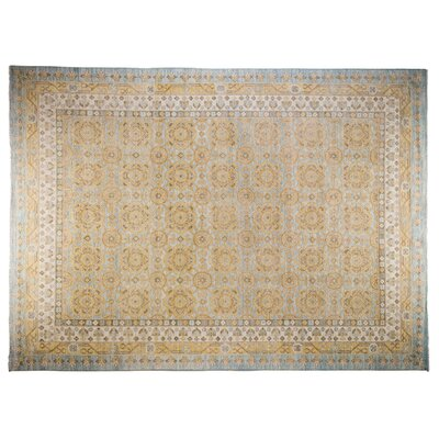 Khotan Hand-Knotted Yellow Area Rug