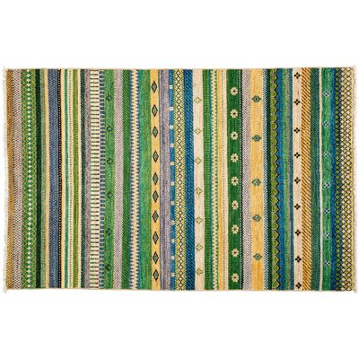 Lori Hand-Knotted Green Area Rug