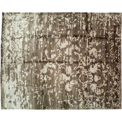 One-of-a-Kind Modern Hand-Knotted Brown Area Rug