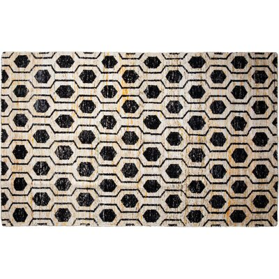 Modern Hand-Knotted Black Area Rug