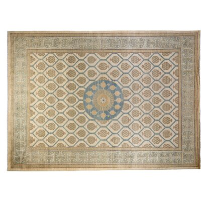 One-of-a-Kind Modern Hand-Knotted Beige Area Rug