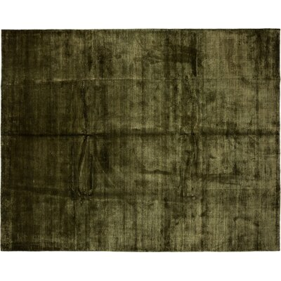 One-of-a-Kind Modern Hand-Knotted Green Area Rug