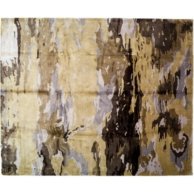 Modern Hand-Knotted Yellow Area Rug