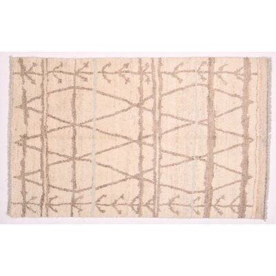 One-of-a-Kind Moroccan Hand-Knotted Beige Area Rug
