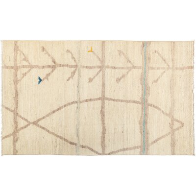 Moroccan Hand-Knotted Beige Area Rug