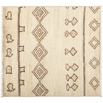 Moroccan Hand-Knotted Beige Area Rug Rug Size: 33 x 34