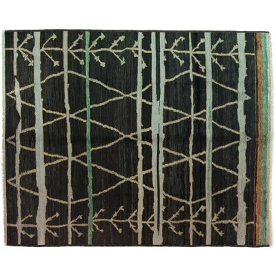 One-of-a-Kind Moroccan Hand-Knotted Black Area Rug