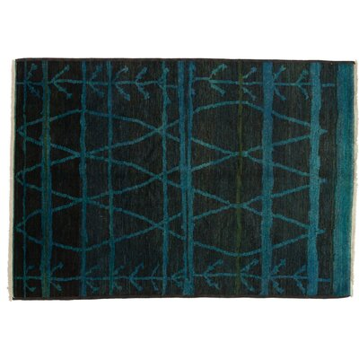 Moroccan Hand-Knotted Blue Area Rug