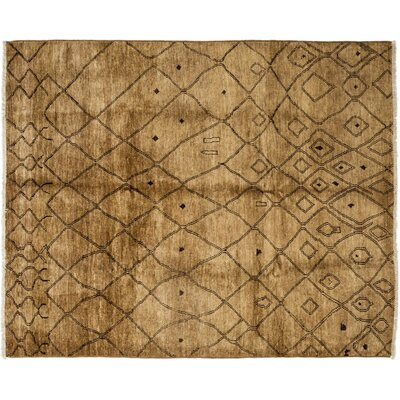 Moroccan Hand-Knotted Brown Area Rug