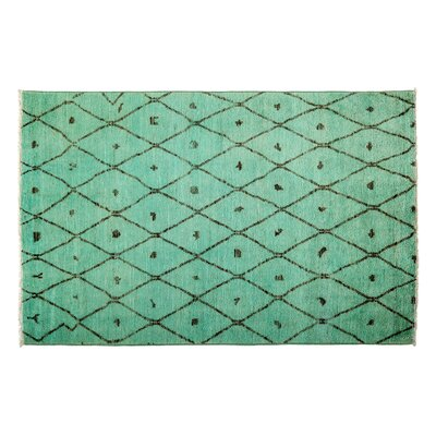 One-of-a-Kind Moroccan Hand-Knotted Green Area Rug
