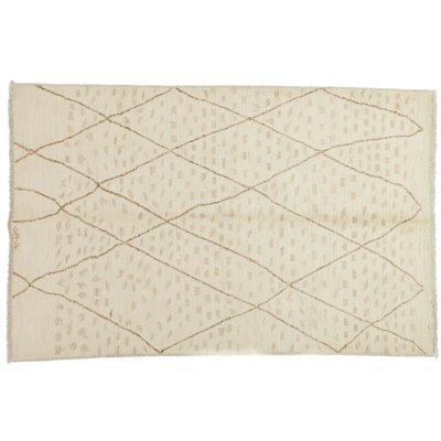 One-of-a-Kind Moroccan Hand-Knotted Ivory Area Rug