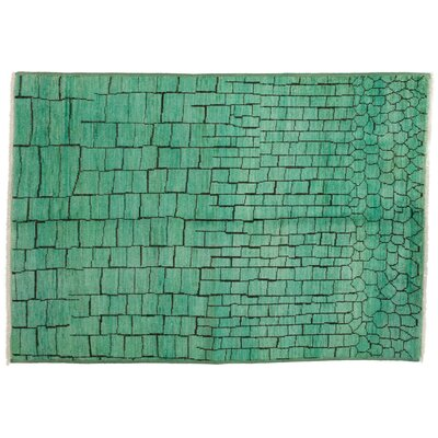 Moroccan Hand-Knotted Green Area Rug
