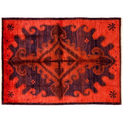 One-of-a-Kind Moroccan Hand-Knotted Red Area Rug